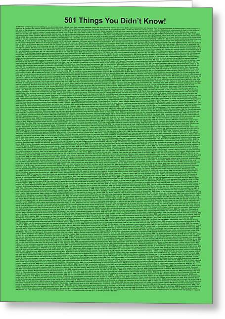 501 Things You Didn't Know - Green Mint Color Greeting Card by Pamela Johnson