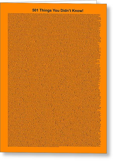 501 Things You Didn't Know - Orange Color Greeting Card by Pamela Johnson