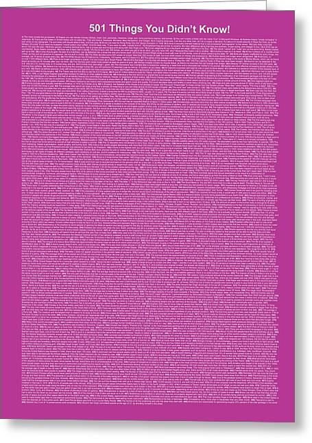 501 Things You Didn't Know - Purple Color Greeting Card by Pamela Johnson