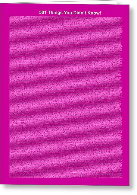 501 Things You Didn't Know - Purple Intense Color Greeting Card
