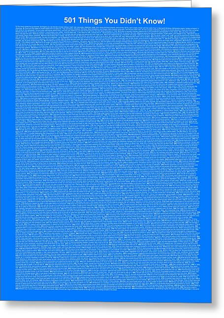 501 Things You Didn't Know - Royal Blue Color Greeting Card by Pamela Johnson