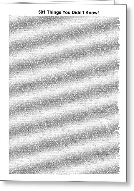 501 Things You Didn't Know - White Color Greeting Card