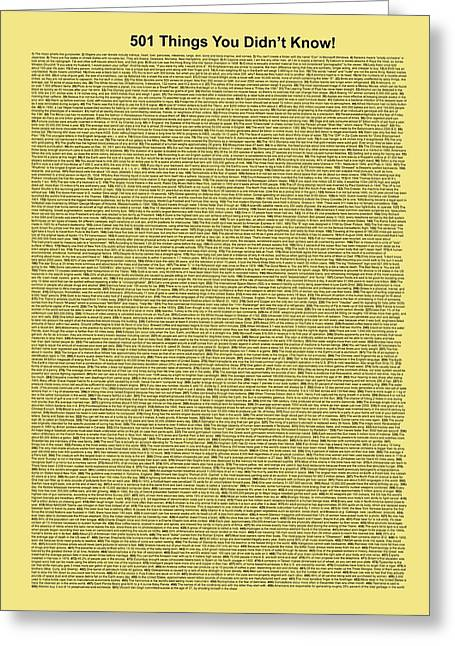501 Things You Didn't Know - Yellow Butter Color Greeting Card