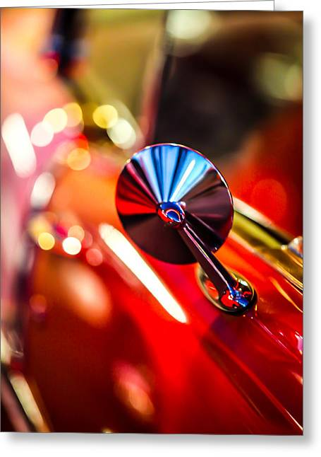 50's Red Chevy Bel Air Rearview Mirror Greeting Card by Shanna Gillette