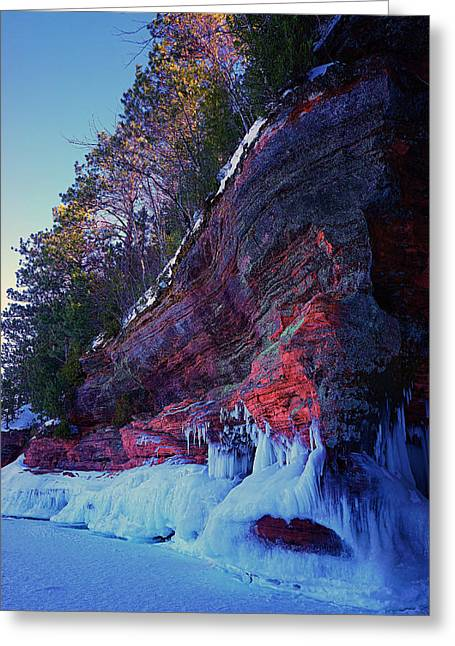 Apostle Island Sea Caves - February 2014  Greeting Card by Carol Toepke