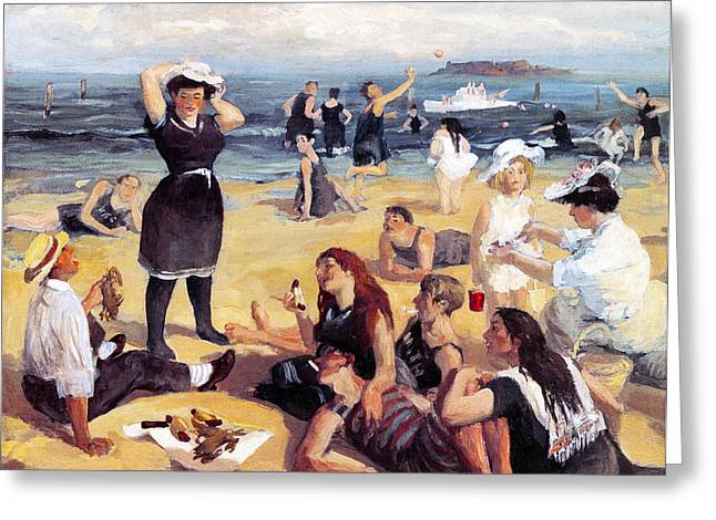 South Beach Bathers Greeting Card by John Sloan
