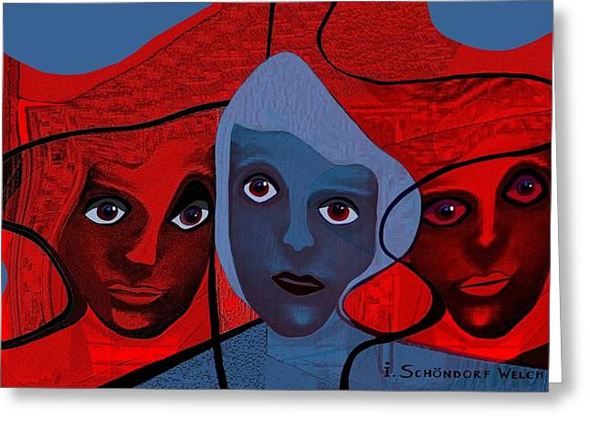513 -  Masks Or Faces Greeting Card by Irmgard Schoendorf Welch
