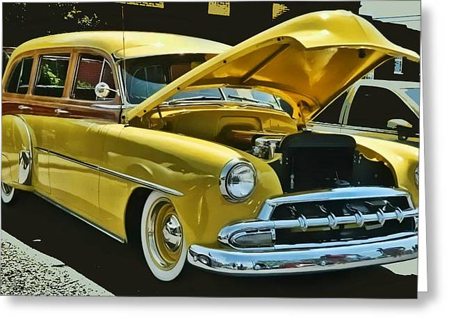 '52 Chevy Wagon Greeting Card by Victor Montgomery