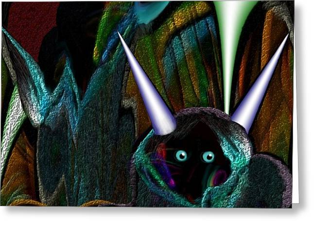 527 - Little Alien Being Greeting Card by Irmgard Schoendorf Welch