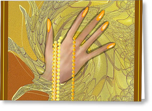 Golden Chain Greeting Cards - 544 -  Gold Fingers   Greeting Card by Irmgard Schoendorf Welch