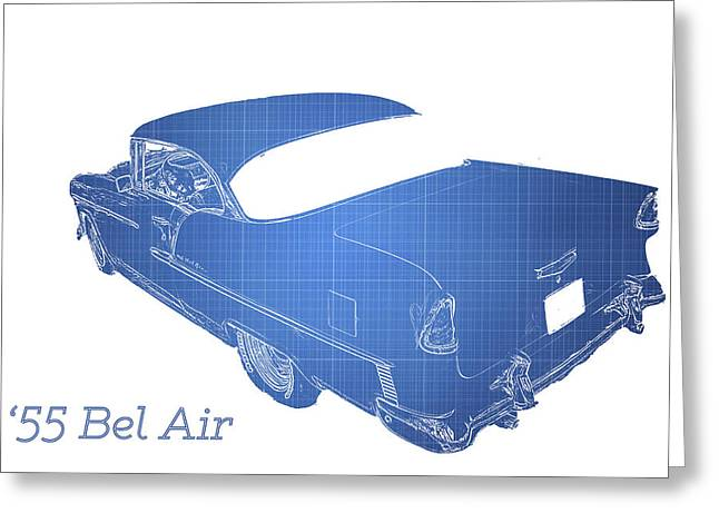 Classic Car Greeting Card featuring the photograph '55 Bel Air by Aaron Berg