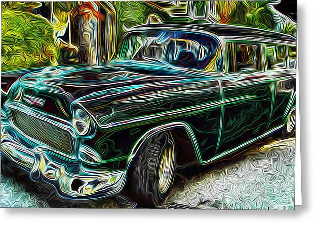 55 Chevy Color Wagan Greeting Card