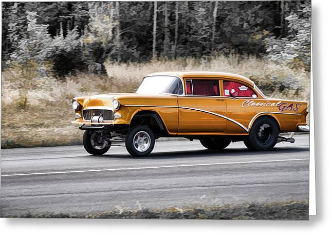 55 Chevy Gasser Racing Greeting Card by Steve McKinzie