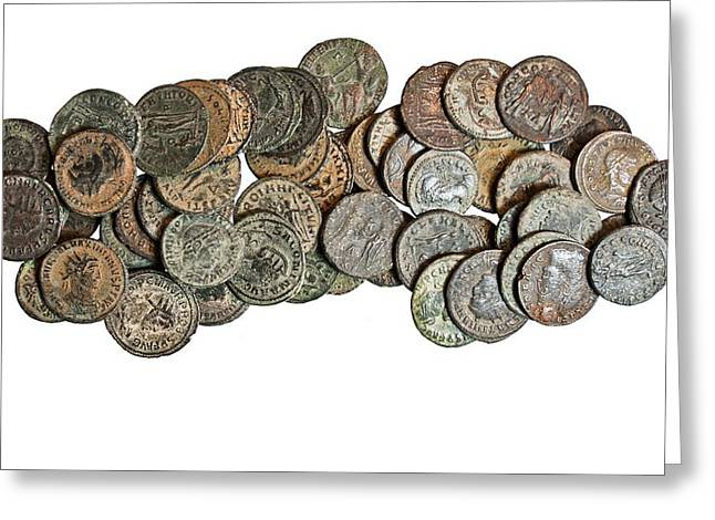 55 Late Roman Bronze Coins Greeting Card by Science Photo Library
