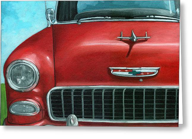 55' Vintage Red Chevy Greeting Card by Linda Apple