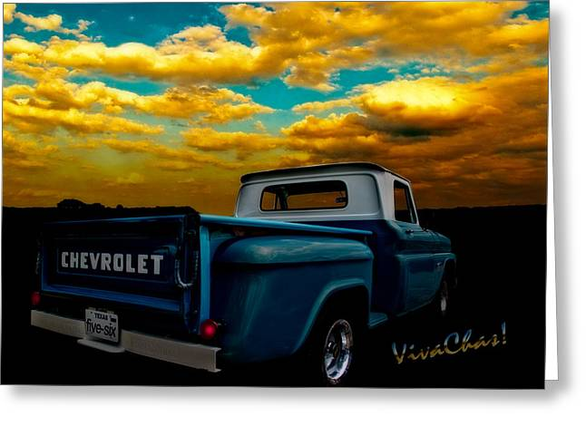 56 Chevy Truck And The Lake Canyon Sunset Greeting Card by Chas Sinklier