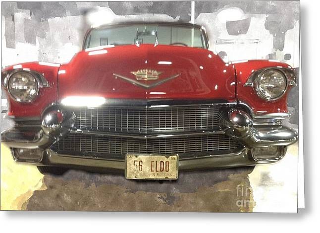 56 Red Cadillac Greeting Card by Robert Wek