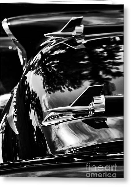 57 Chevrolet Hood Rockets Monochrome Greeting Card by Tim Gainey