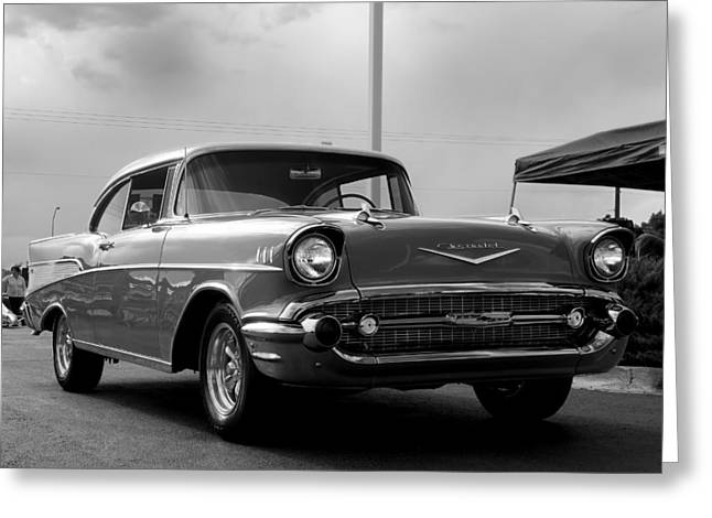 57 Chevy Bel-aire In Bw Greeting Card by Don Durante Jr