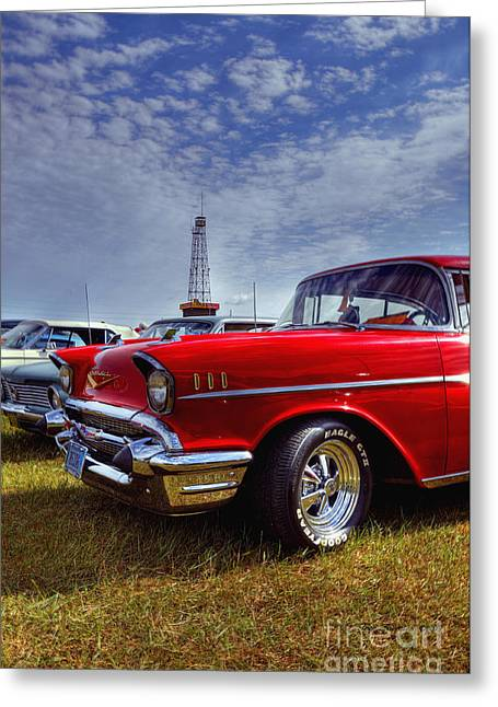 Greeting Card featuring the photograph 57 Chevy Belair by Trey Foerster
