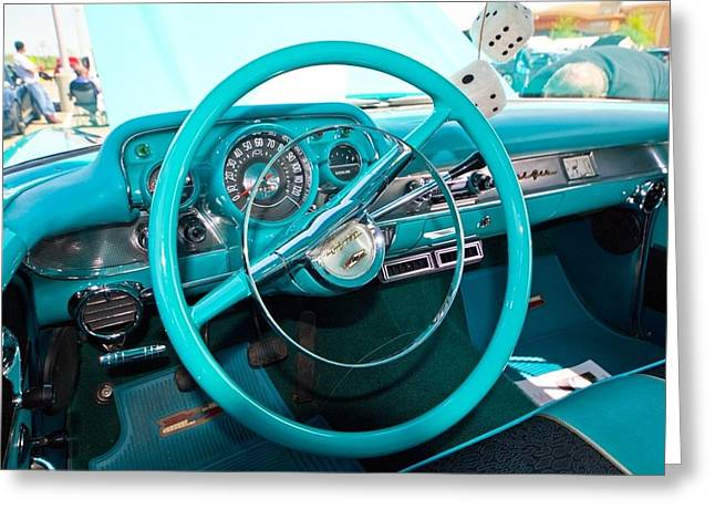 57 Chevy Belair Turquoise Greeting Card