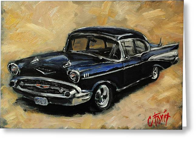 57 Chevy Greeting Card by Carole Foret