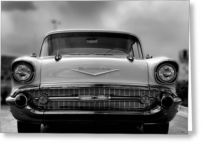 57 Chevy Full Frontal In Bw Greeting Card by Don Durante Jr