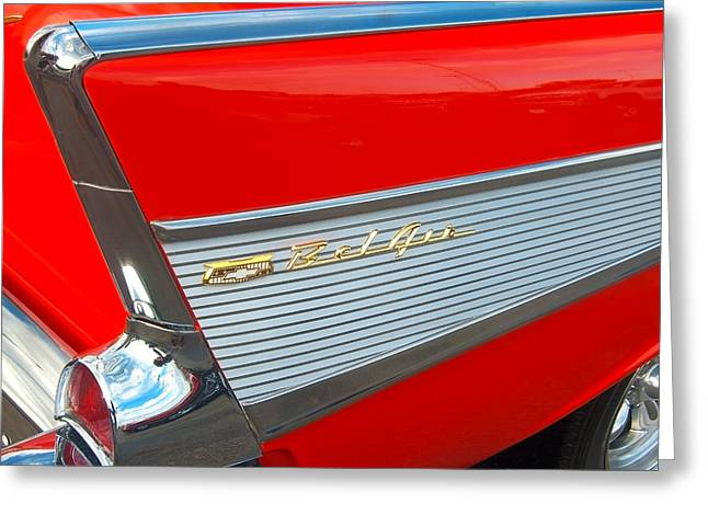57 Chevy Tail Fin Greeting Card by Don Durante Jr