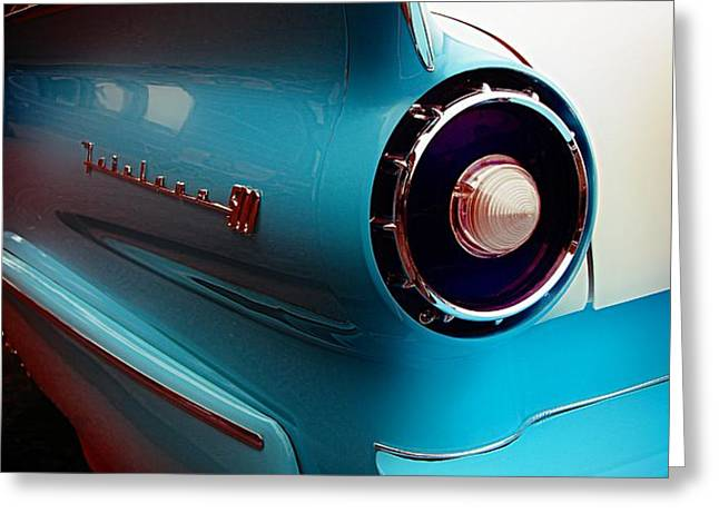 Classic Car Greeting Card featuring the photograph '57 Fairlane 500 by Aaron Berg