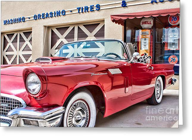 57 T-bird Greeting Card by Lawrence Burry