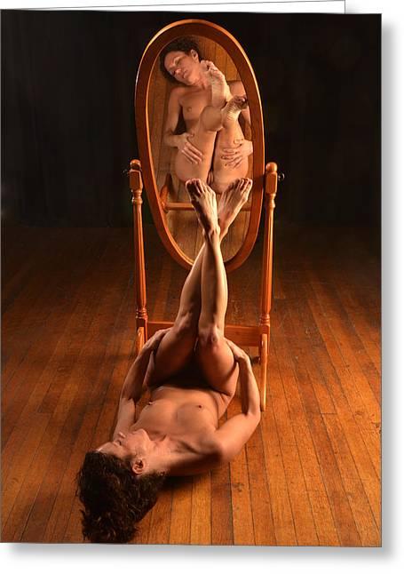 5806 Nude On Wood Floor Before Mirror  Greeting Card