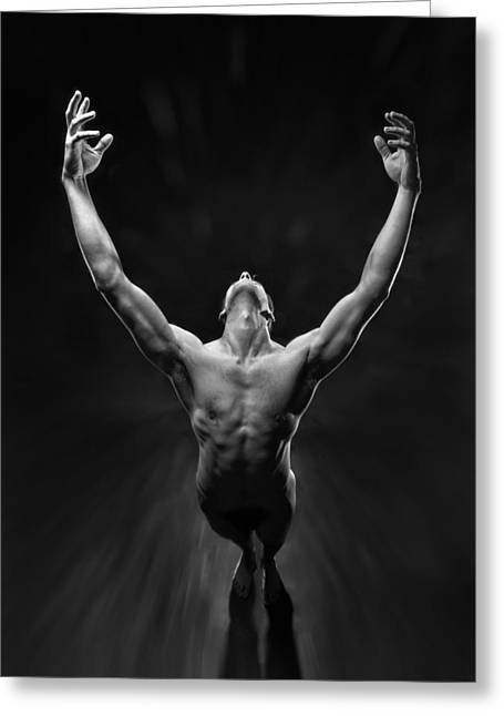 5866 Powerful Male Nude Reaching Up Greeting Card
