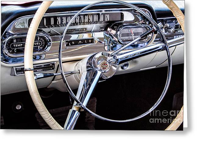 58 Cadillac Dashboard Greeting Card by Jerry Fornarotto
