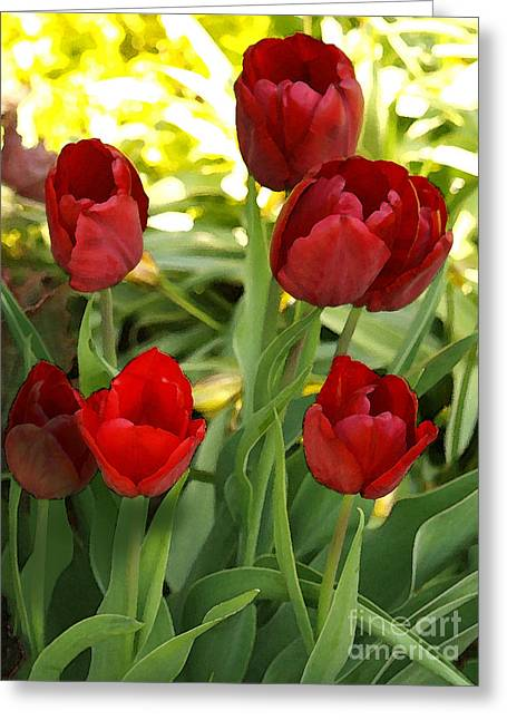 5tulips Greeting Card by Susan Crossman Buscho