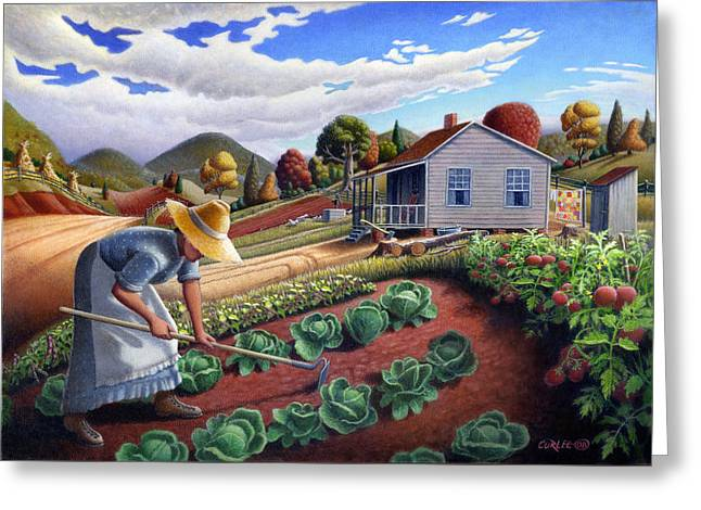 5x7 Greeting Card Mother In Garden Rural Country Appalachian Landscape Greeting Card by Walt Curlee