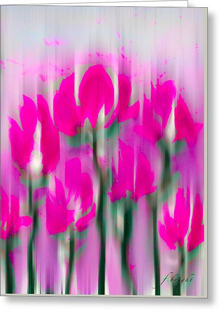 Greeting Card featuring the digital art 6 1/2 Flowers by Frank Bright