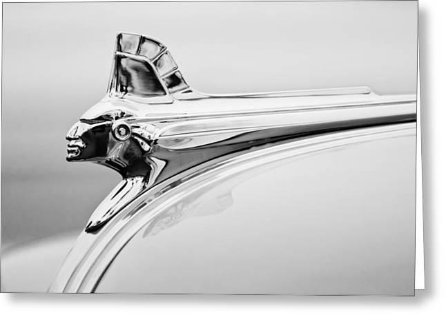 1951 Pontiac Streamliner Hood Ornament Greeting Card by Jill Reger