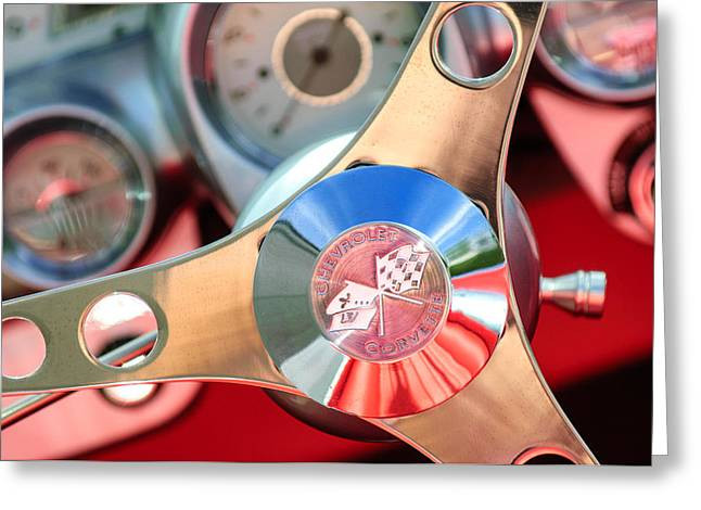 1960 Chevrolet Corvette Steering Wheel Emblem Greeting Card by Jill Reger