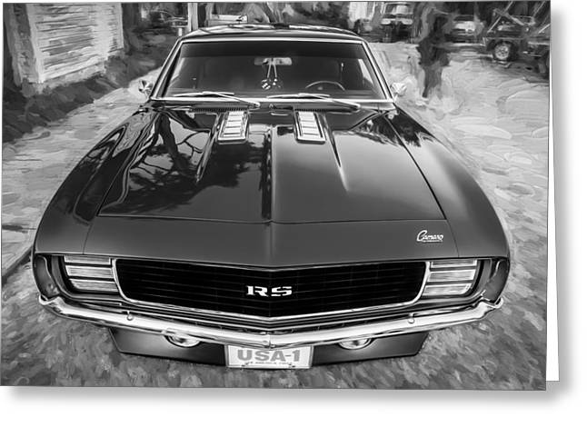 1969 Chevy Camaro Rs Painted Bw   Greeting Card