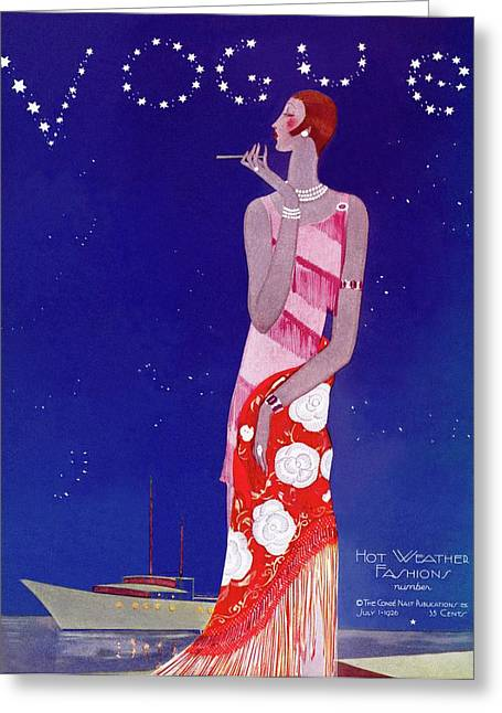 A Vintage Vogue Magazine Cover Of A Woman Greeting Card by Eduardo Garcia Benito