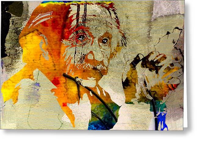 Albert Einstein Greeting Card by Marvin Blaine