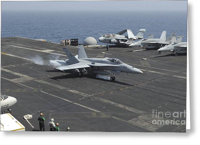 An Fa-18c Hornet Lands On The Flight Greeting Card