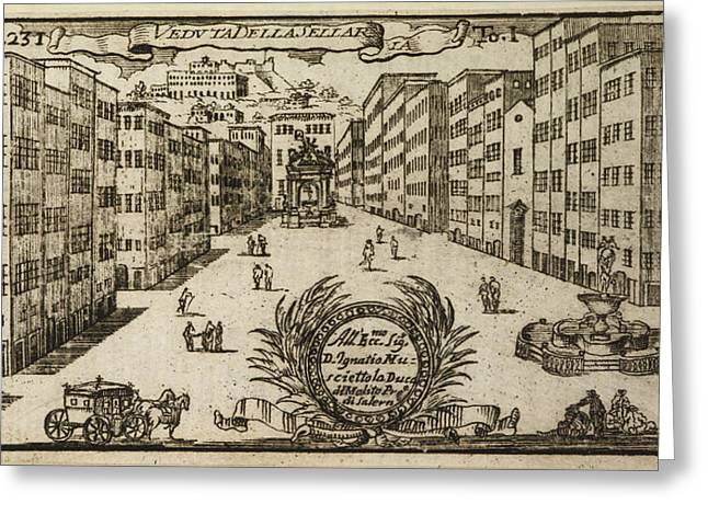 An Illustration Of 18th Century Naples Greeting Card by British Library