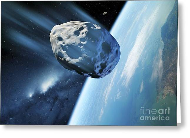 Asteroid Approaching Earth, Artwork Greeting Card