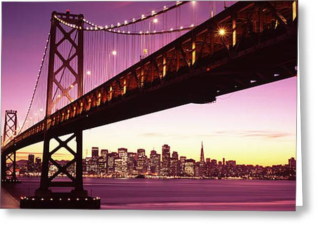 Bridge Across A Bay With City Skyline Greeting Card