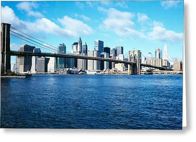 Bridge Across A River, Brooklyn Bridge Greeting Card by Panoramic Images