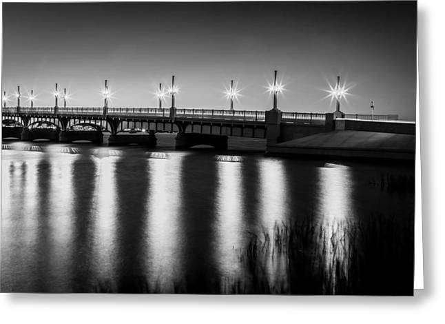 Bridge Of Lions St Augustine Florida Painted Bw Greeting Card