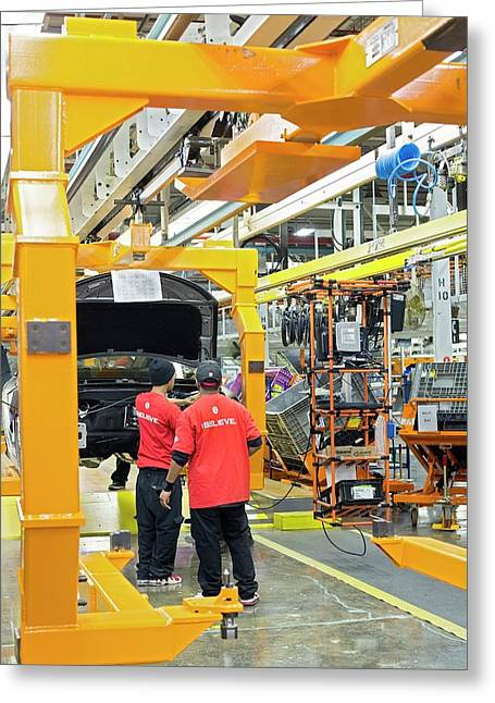 Car Assembly Production Line Greeting Card