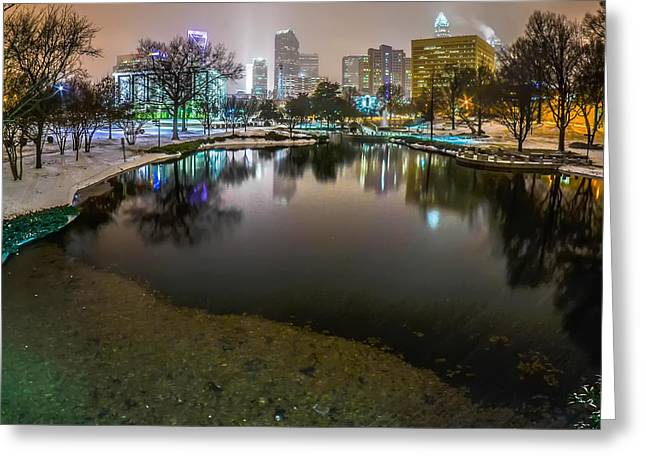 Charlotte Nc Skyline Covered In Snow In January 2014 Greeting Card