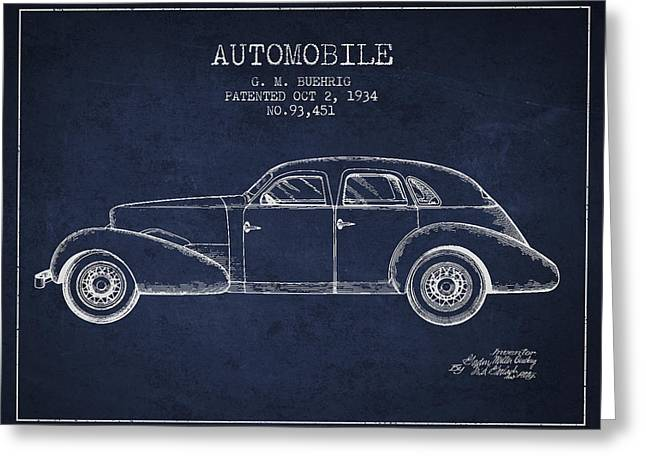 Cord Automobile Patent From 1934 Greeting Card by Aged Pixel